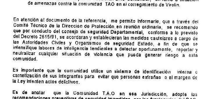 Carta del DAS a la Comunidad Tao